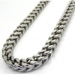 10k White Gold Diamond Cut Franco Link Chain 26-40 Inch 5mm