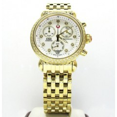 Ladies Michele Signature Csx-36 Diamond Yellow Stainless Steel Watch 0.64ct