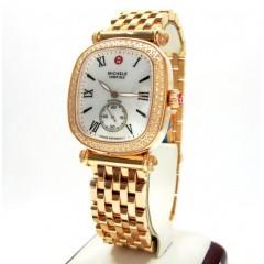 Ladies Michele Caber Isle Diamond Rose Stainless Steel Watch 0.58ct