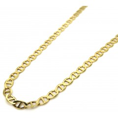 10k Yellow Gold Solid Mariner Link Chain 16-24 Inch 3mm