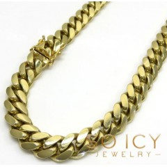 10k Yellow Gold Thick Miami Chain 24-32 Inch 9.20mm