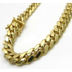 10k Yellow Gold Thick Miami Bracelet 9 Inch 7mm