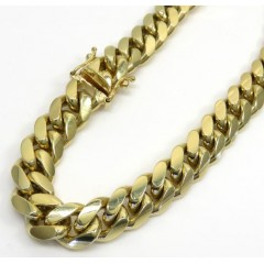 10k Yellow Gold Thick Miami Bracelet 9 Inch 9mm