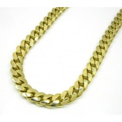 10k Yellow Gold Thick Miami Chain 26-34 Inch 10mm