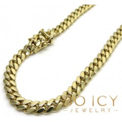10k Yellow Gold Miami Chain 20-32 Inch 5.2mm
