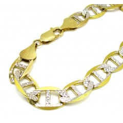 10k Yellow Gold Solid Diamond Cut Mariner Bracelet 8.75 Inch 10.8mm