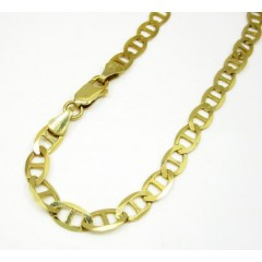 10k Yellow Gold Solid Mariner Bracelet 8 Inch 5.2mm