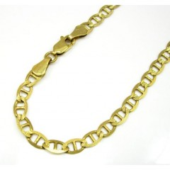 10k Yellow Gold Solid Diamond Cut Mariner Bracelet 8 Inch 4.5mm