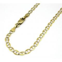 10k Yellow Gold Solid Diamond Cut Mariner Bracelet 8 Inch 3mm