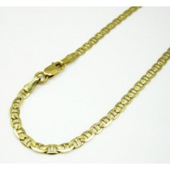 10k Yellow Gold Solid Diamond Cut Mariner Bracelet 8.25 Inch 2.8mm