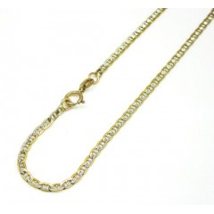 10k Yellow Gold Solid Diamond Cut Mariner Bracelet 7 Inch 2mm