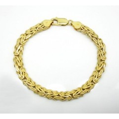 10k Yellow Gold Solid Flat Byzantine Bracelet 7 Inch 6.50mm