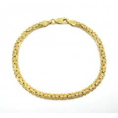 10k Yellow Gold Solid Flat Byzantine Bracelet 7 Inch 4mm