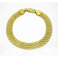 10k Yellow Gold Solid Bismark Bracelet 7 Inch 8.2mm