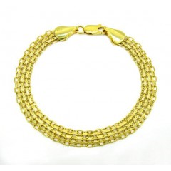 10k Yellow Gold Solid Bismark Bracelet 7.25 Inch 7.2mm