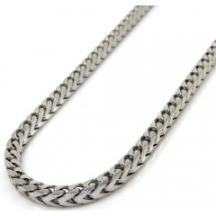 10k White Gold Solid Franco Link Chain 18-26 Inch 2.2mm