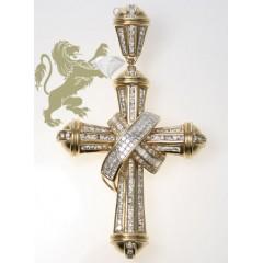 4.00ct 14k Yellow Gold Diamond princess Cut Ribbon Cross