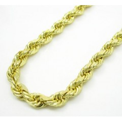10k Yellow Gold Solid Rope Link Chain 22-30 Inch 3.2mm