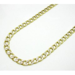 10k Yellow Gold Hollow Diamond Cut Cuban Link Chain 24 Inch 4mm