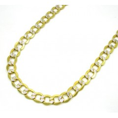 10k Yellow Gold Hollow Diamond Cut Cuban Link Chain 24-26 Inch 6.5mm