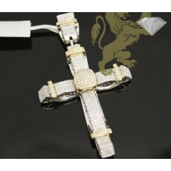 3.50ct 14k Two Tone Gold Diamond pave Cross