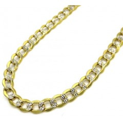 10k Yellow Gold Hollow Diamond Cut Cuban Link Chain 24-26 Inch 4.8mm