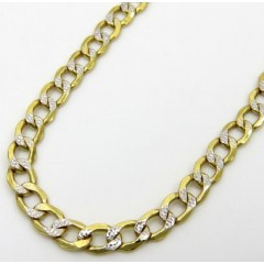 10k Yellow Gold Hollow Diamond Cut Cuban Link Chain 24 Inch 3.3mm