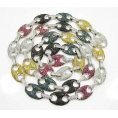 14k Solid White Gold Multi Color Diamond Anchor Chain 14.39ct