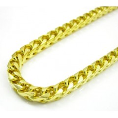 10k Yellow Gold Smooth Cut Franco Link Chain 24-30 Inch 4.7mm
