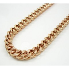 10k Rose Gold Smooth Cut Franco Link Chain 38 Inch 5.2mm
