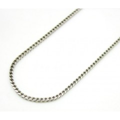 10k White Gold Smooth Cut Super Skinny Franco Link Chain 16-22 Inch 1mm