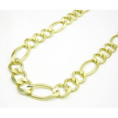 10k Yellow Gold Solid Figaro Link Chain 24-30 Inch 12.2mm