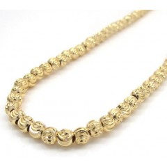 10k Yellow Gold Moon Cut Bead Link Chain 24-40 Inch 4mm