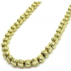 10k Yellow Gold Moon Cut Bead Link Chain 26-40 Inch 5mm