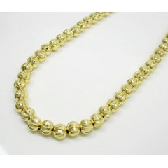 10k Yellow Gold Moon Cut Bead Link Chain 26-30 Inch 6mm
