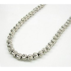 10k White Gold Moon Cut Bead Link Chain 28-40 Inch 5mm