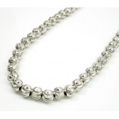 10k White Gold Moon Cut Bead Link Chain 30-40 Inch 6mm