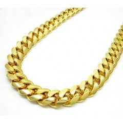 10k Yellow Gold Thick Miami Link Chain 20-30 Inch 12.4mm
