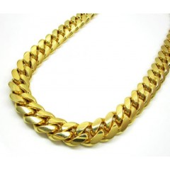 10k Yellow Gold Thick Miami Link Chain 30 Inch 14mm