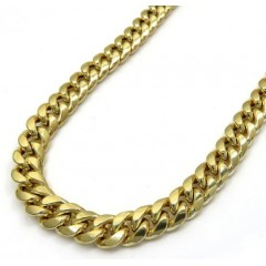10k Yellow Gold Thick Miami Link Chain 20-28  Inch 7.5mm
