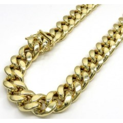 10k Yellow Gold Hollow Miami Link Chain 26-38 Inch 11mm