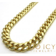 10k Yellow Gold Hollow Miami Link Chain 24-36 Inch 9.5mm