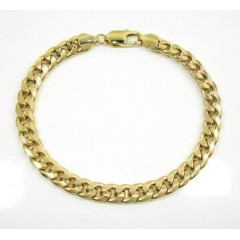 10k Yellow Gold Hollow Miami Bracelet 8.5 Inch 7.0mm
