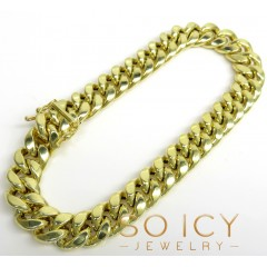 10k Yellow Gold Hollow Miami Bracelet 9 Inch 9.3mm