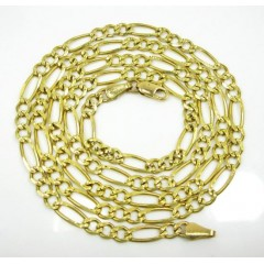 10k Yellow Gold Diamond Cut Figaro Link Chain 26 Inch 4.3mm