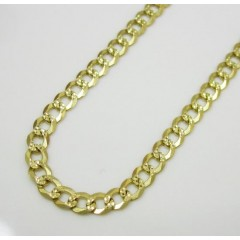 10k Yellow Gold Diamond Cut Cuban Link Chain 30 Inch 3.1mm