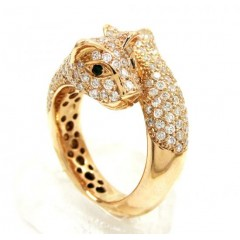 14k Rose Gold Double Headed Diamond Panther Ring 3.00ct