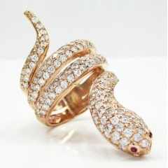 14k Rose Gold Round Diamond Snake Ring 2.00ct
