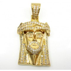 10k Yellow Gold Jesus Face Diamond Pendant 2.50ct