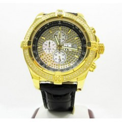 Techno Com By Kc Yellow Case Big Bezel Diamond Watch 2.00ct